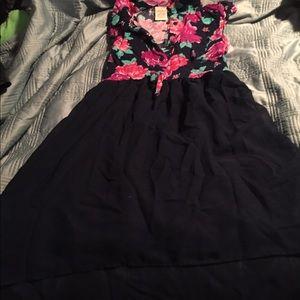 Navy blue and pink hi low dress.